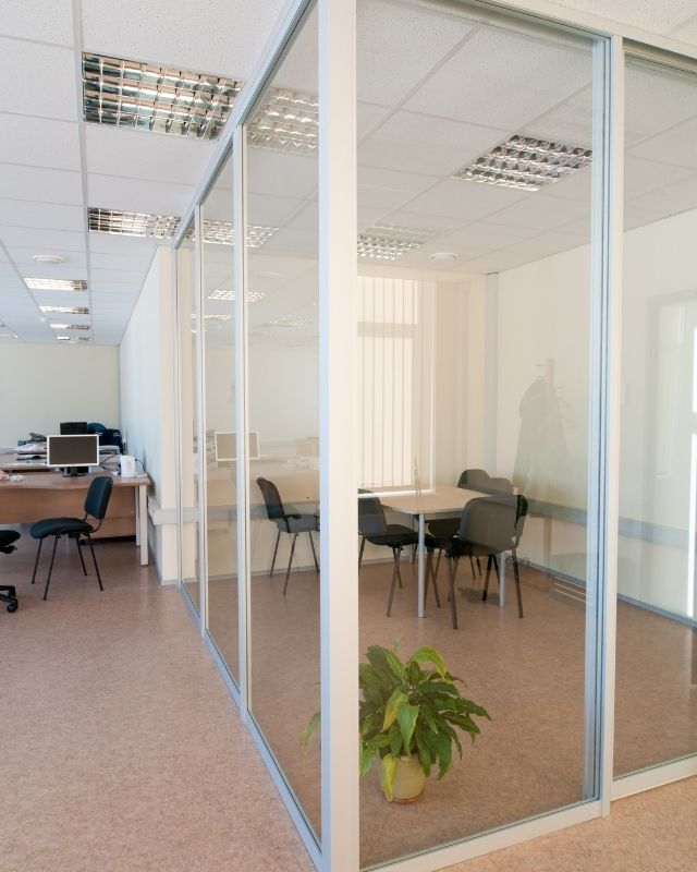 Glass office partitioning produced to measure by Graham Aluminium and Sons ltd