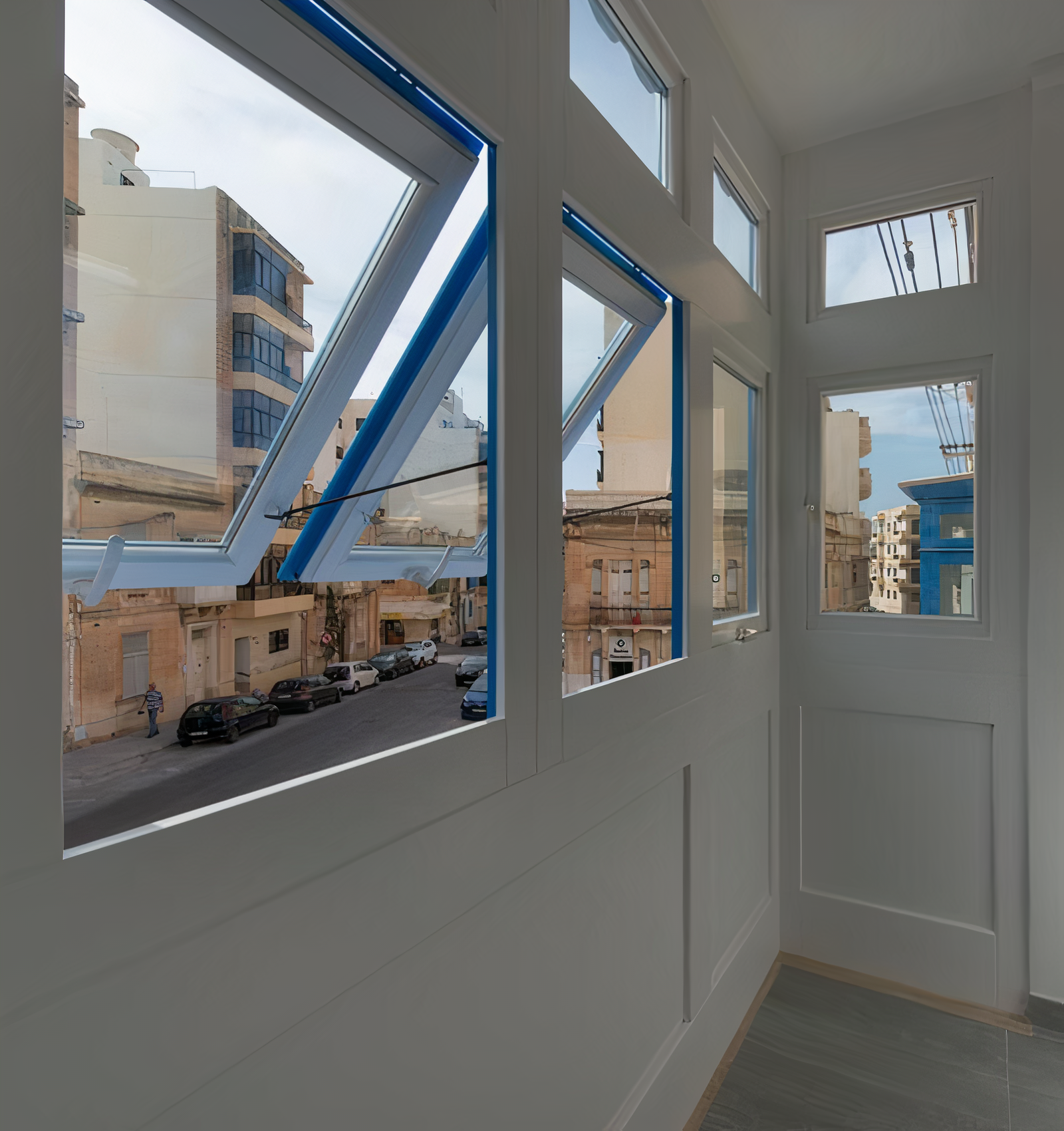 PVC, Malta balcony with open windows